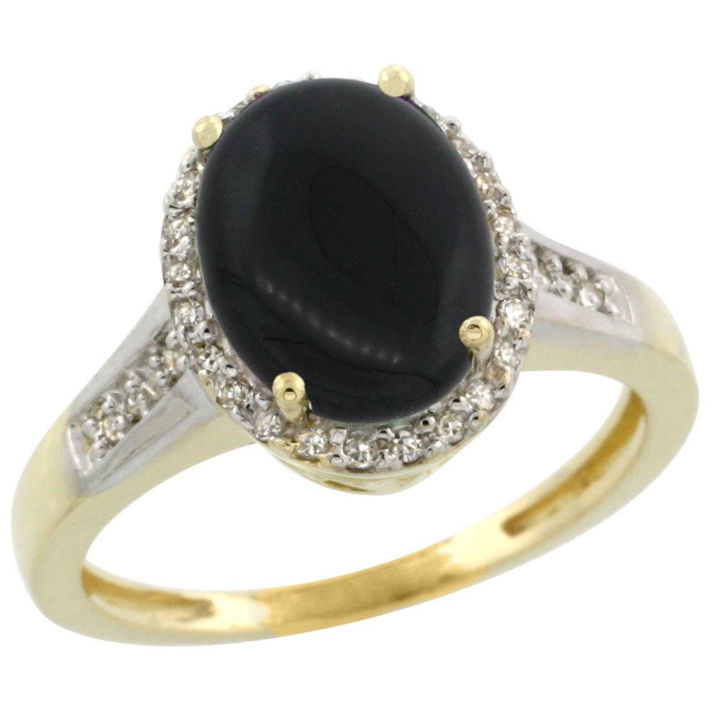 14K Yellow Gold Diamond Natural Black Onyx Engagement Ring Oval 10x8mm, sizes 5-10