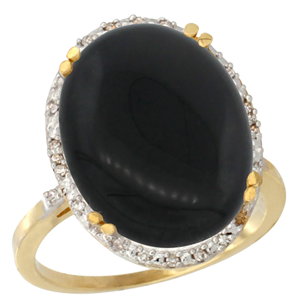 14K Yellow Gold Natural Black Onyx Ring Large Oval 18x13mm Diamond Halo, sizes 5-10