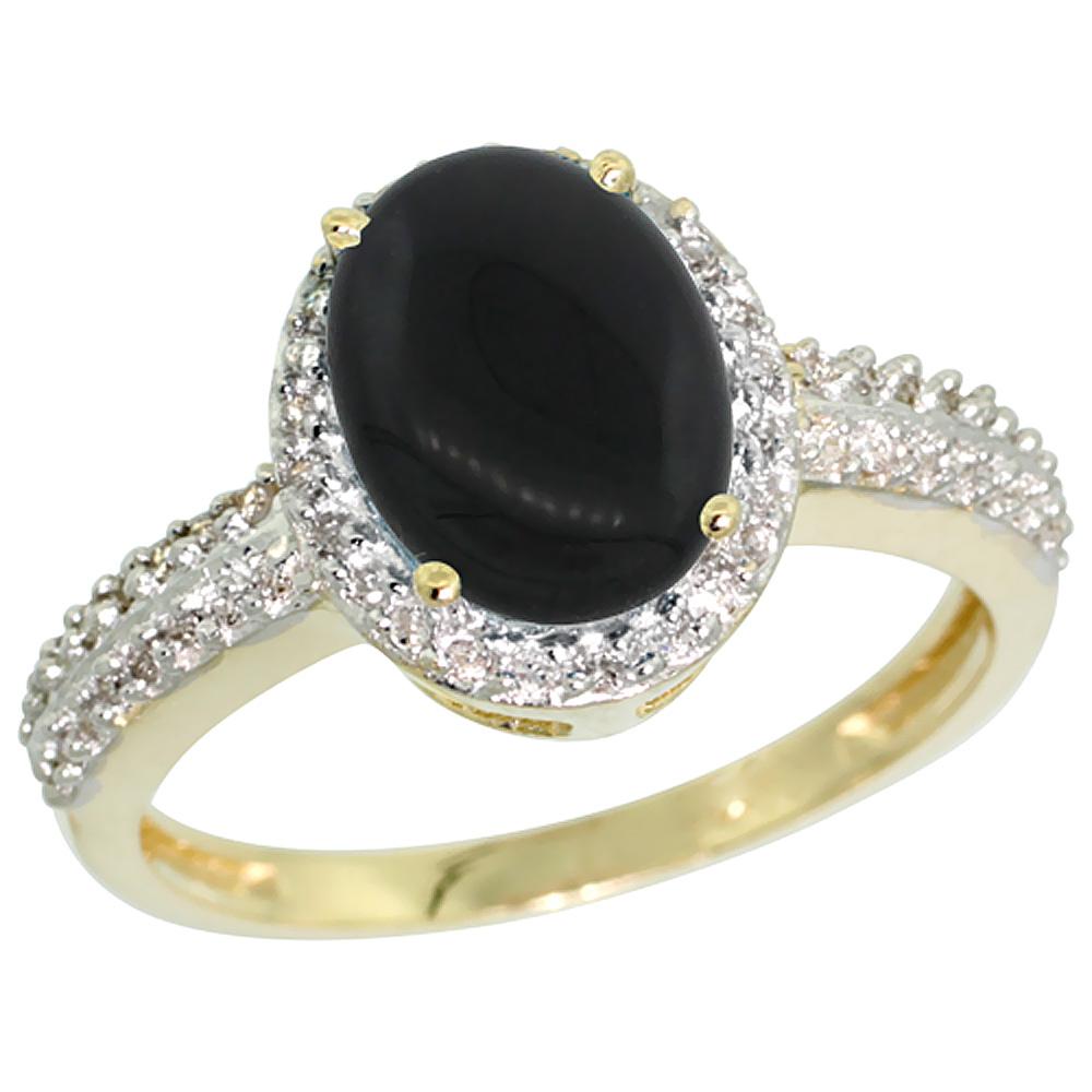 14K Yellow Gold Diamond Natural Black Onyx Ring Oval 9x7mm, sizes 5-10