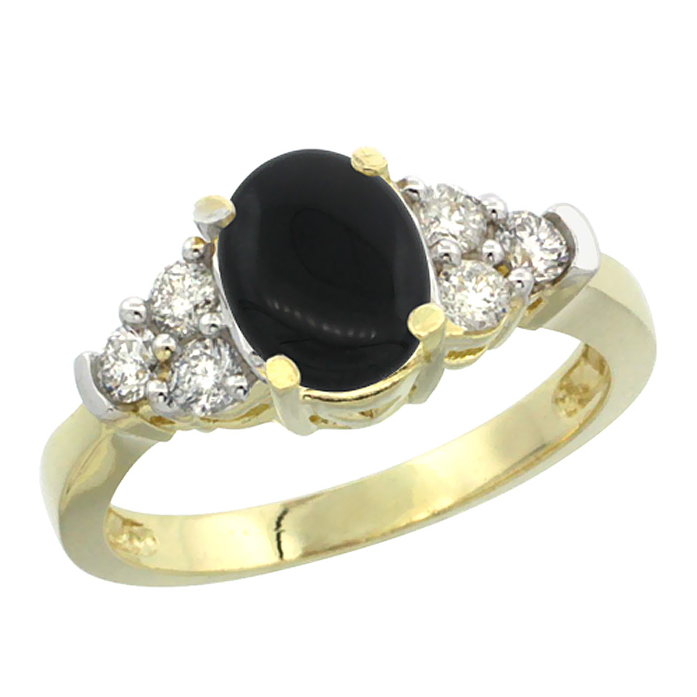 14K Yellow Gold Natural Black Onyx Ring Oval 9x7mm Diamond Accent, sizes 5-10