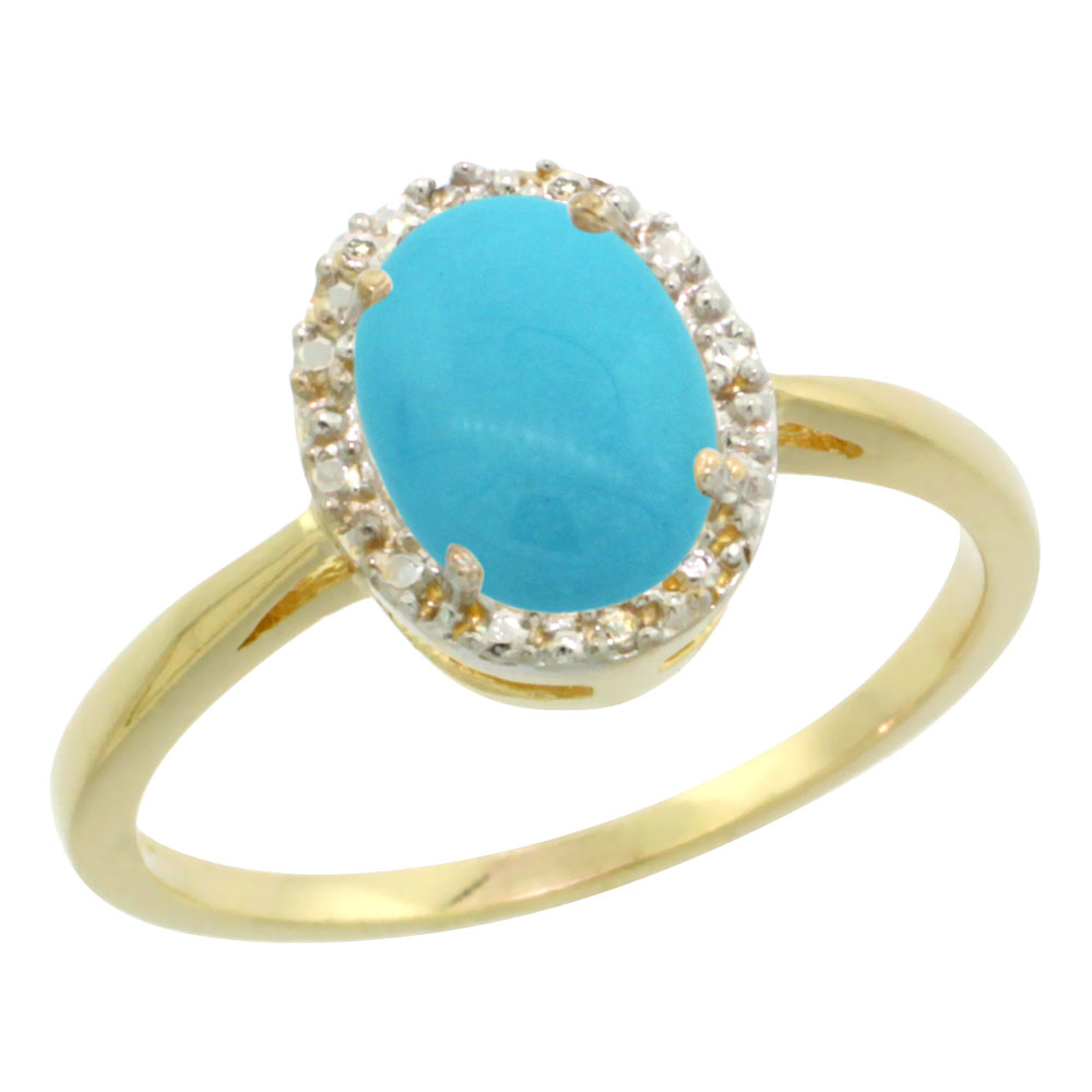 14K Yellow Gold Natural Sleeping Beauty Turquoise Diamond Halo Ring Oval 8X6mm, sizes 5-10