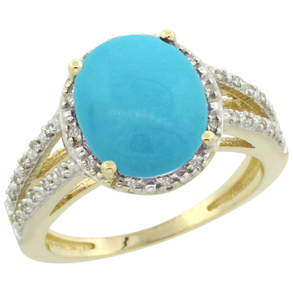 14K Yellow Gold Natural Sleeping Beauty Turquoise Diamond Halo Ring Oval 11x9mm, sizes 5-10