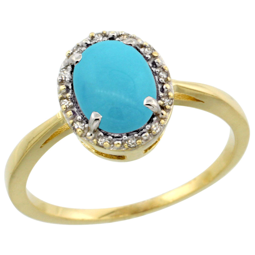 14K Yellow Gold Natural Turquoise Ring Oval 8x6 mm Diamond Halo, sizes 5-10