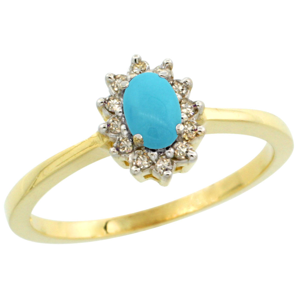 14K Yellow Gold Natural Turquoise Ring Oval 5x3mm Diamond Halo, sizes 5-10