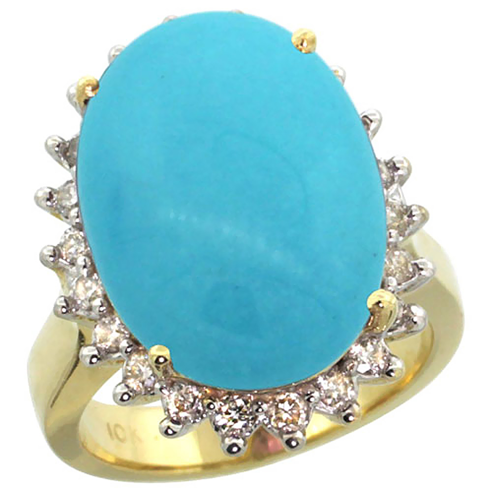 14k Yellow Gold Diamond Halo Natural Turquoise Ring Large Oval 18x13mm, sizes 5-10