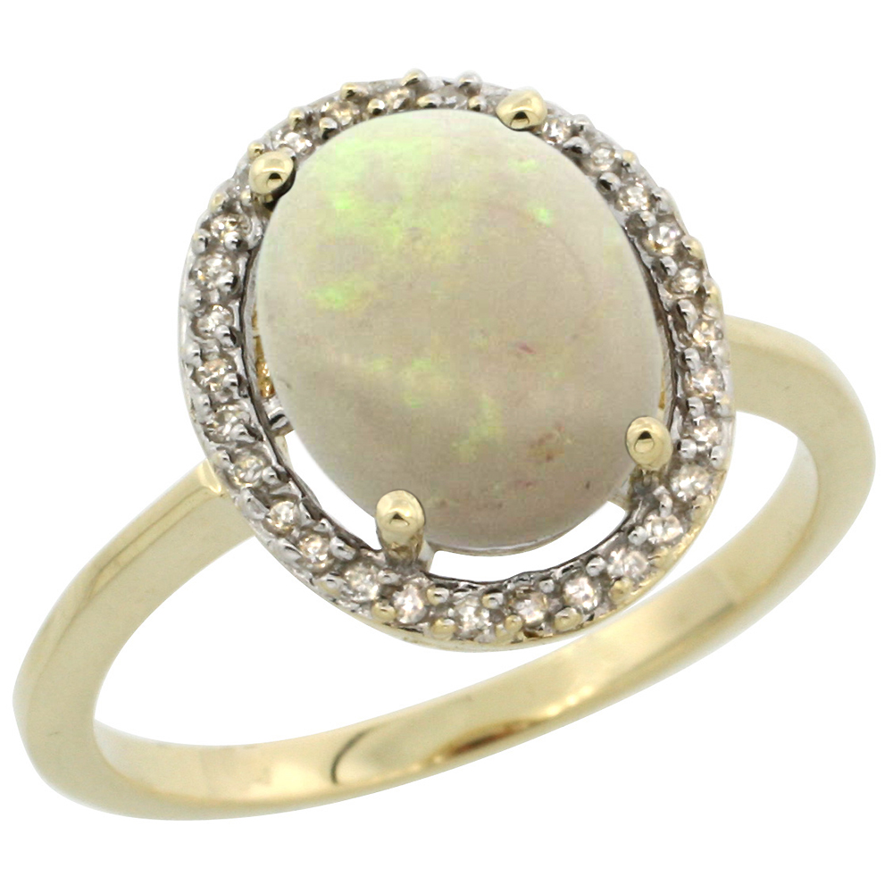 10K Yellow Gold Diamond Halo Natural Opal Engagement Ring Oval 10x8 mm, sizes 5 10