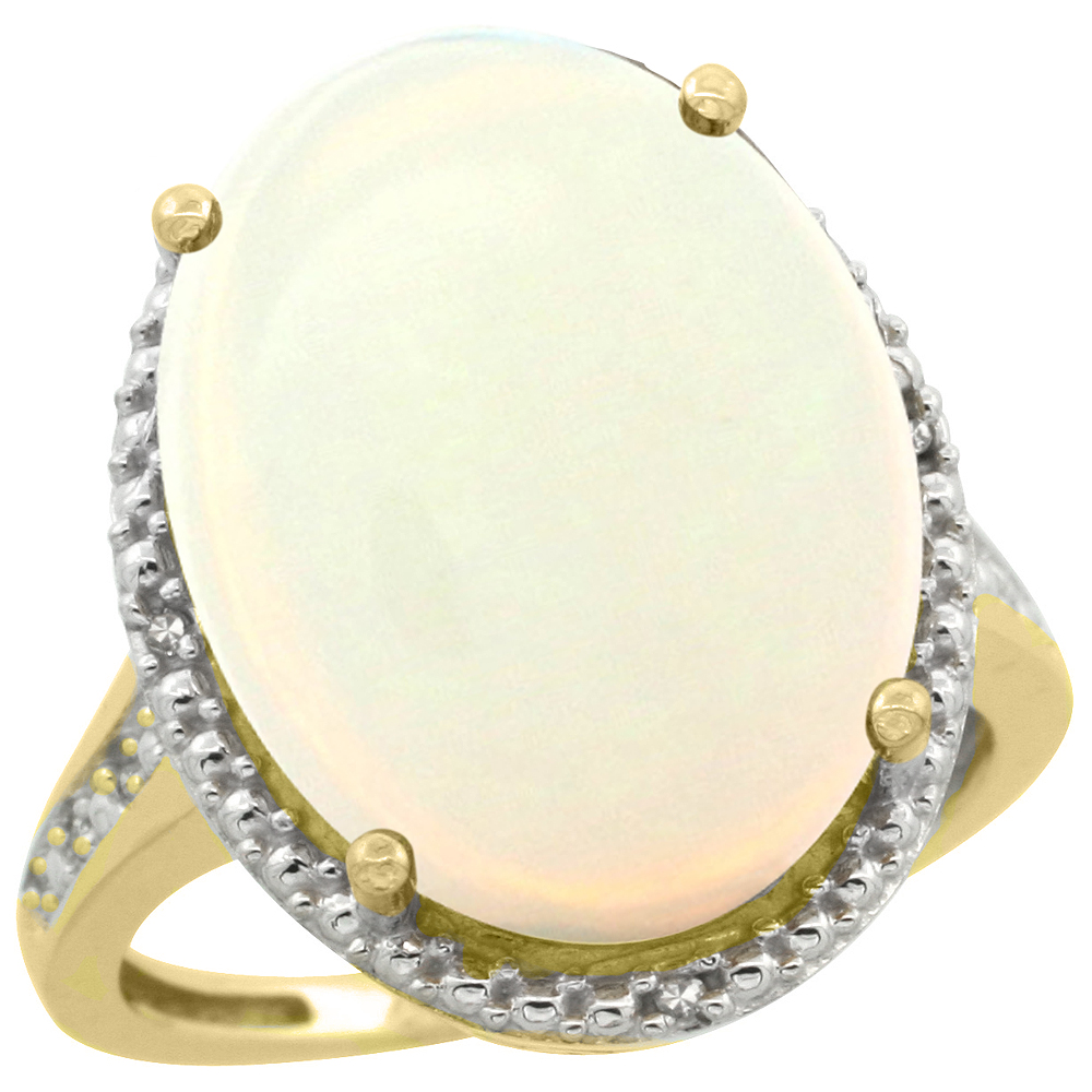 10K Yellow Gold Diamond Natural Opal Ring Oval 18x13mm, sizes 5-10