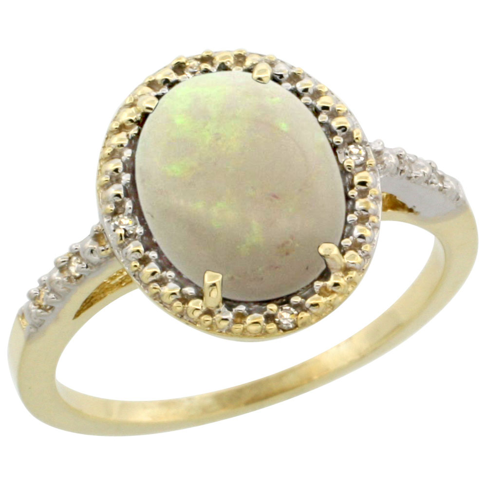 10K Yellow Gold Diamond Natural Opal Engagement Ring Oval 10x8mm, sizes 5-10