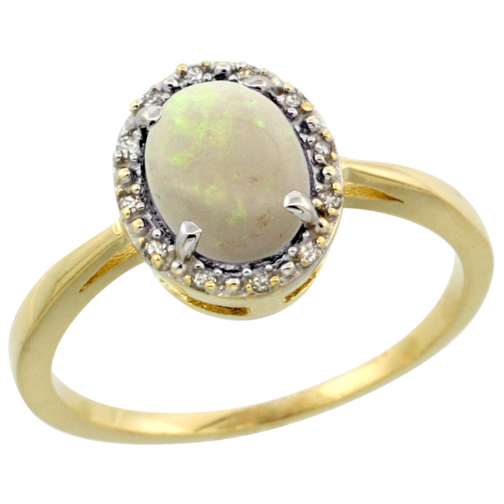 10k Yellow Gold Natural Opal Ring Oval 8x6 mm Diamond Halo, sizes 5-10
