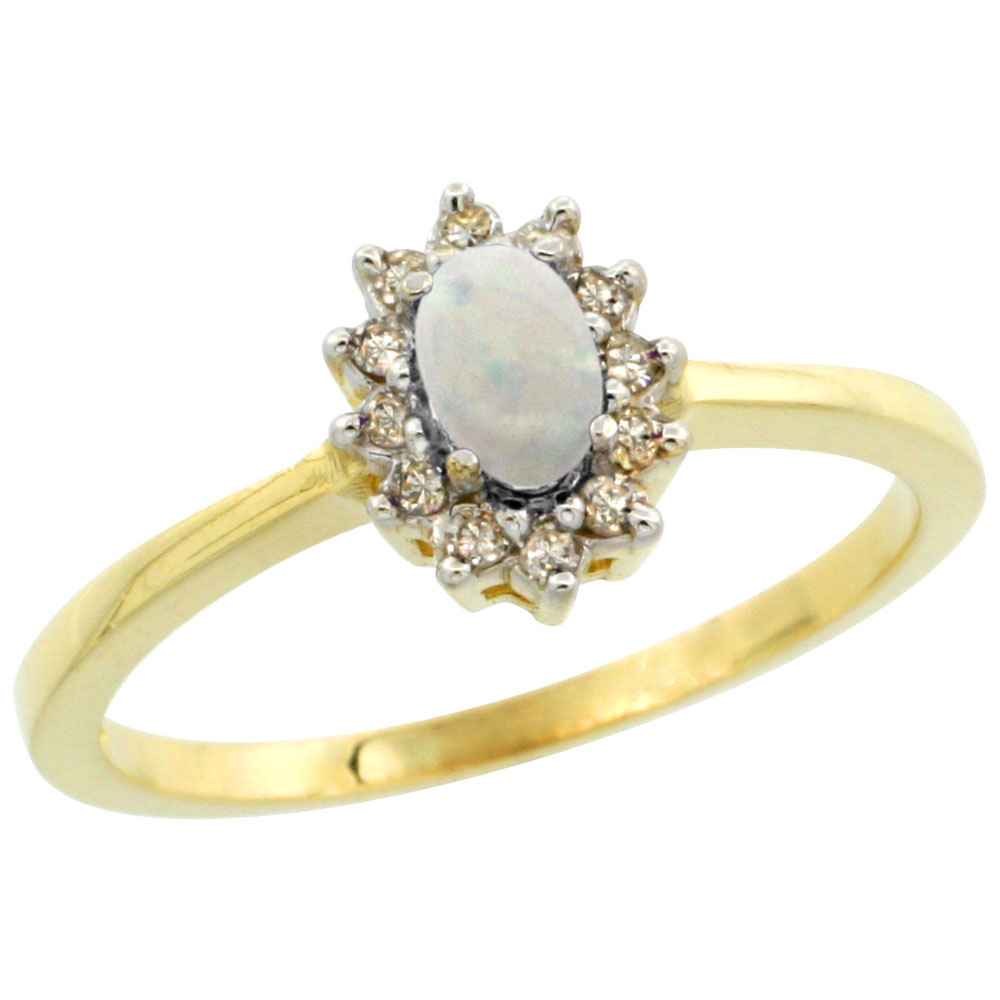 10k Yellow Gold Natural Opal Ring Oval 5x3mm Diamond Halo, sizes 5-10