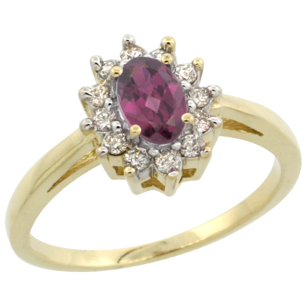 14K Yellow Gold Natural Rhodolite Flower Diamond Halo Ring Oval 6x4 mm, sizes 5 10