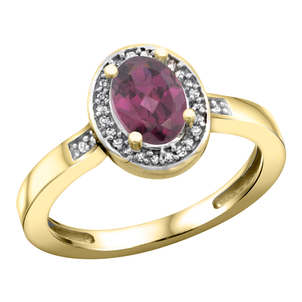 10K Yellow Gold Diamond Natural Rhodolite Engagement Ring Oval 7x5mm, sizes 5-10