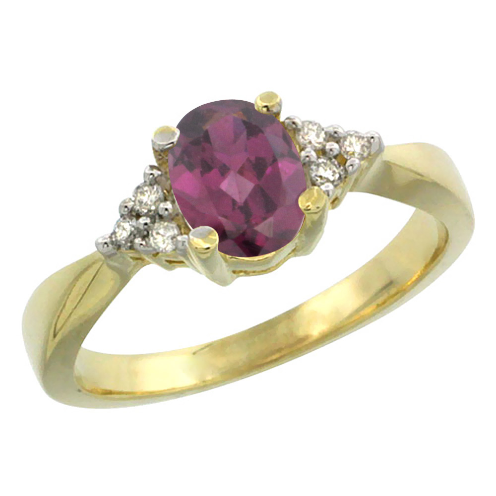 14K Yellow Gold Diamond Natural Rhodolite Engagement Ring Oval 7x5mm, sizes 5-10