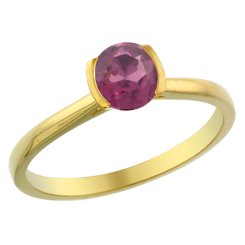 14K Yellow Gold Natural Rhodolite Solitaire Ring Round 5mm, sizes 5 - 10