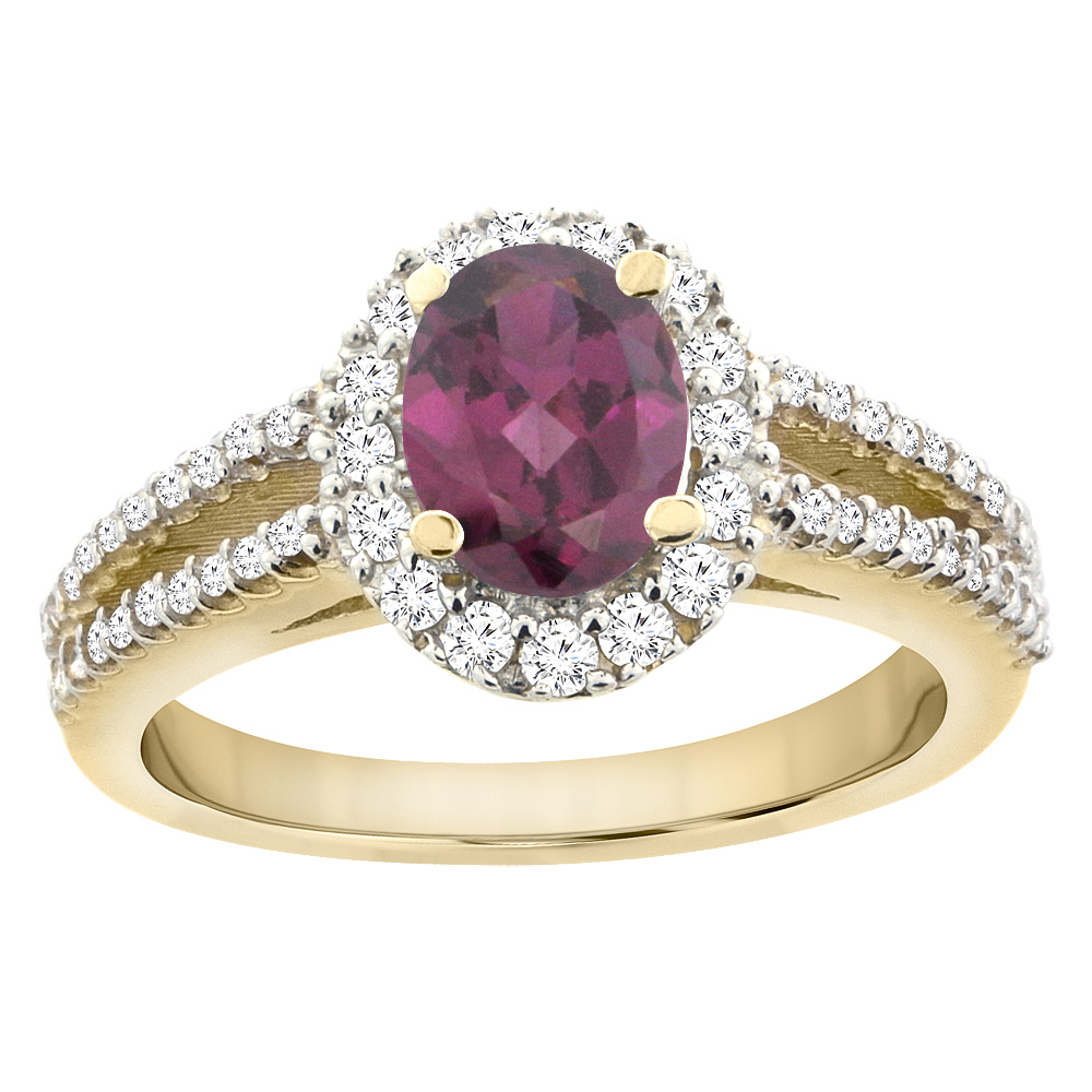 14K Yellow Gold Natural Rhodolite Split Shank Halo Engagement Ring Oval 7x5 mm, sizes 5 - 10