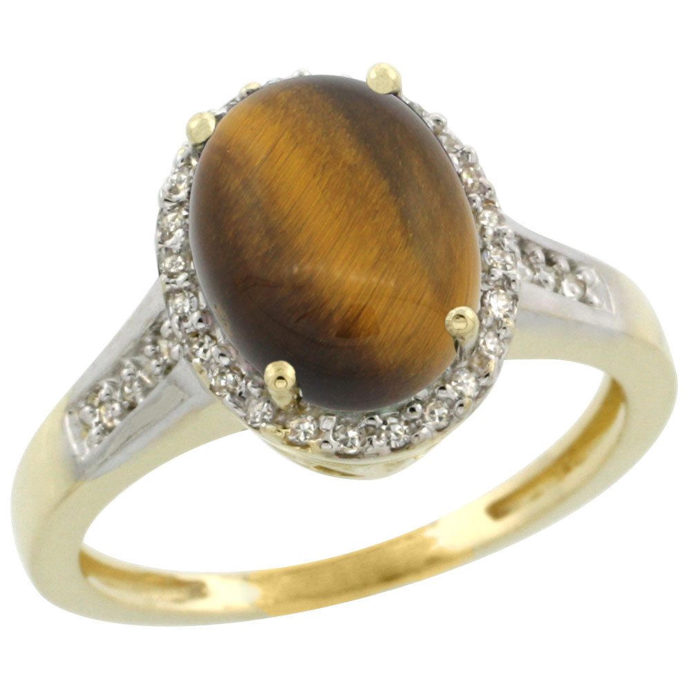 14K Yellow Gold Diamond Natural Tiger Eye Engagement Ring Oval 10x8mm, sizes 5-10