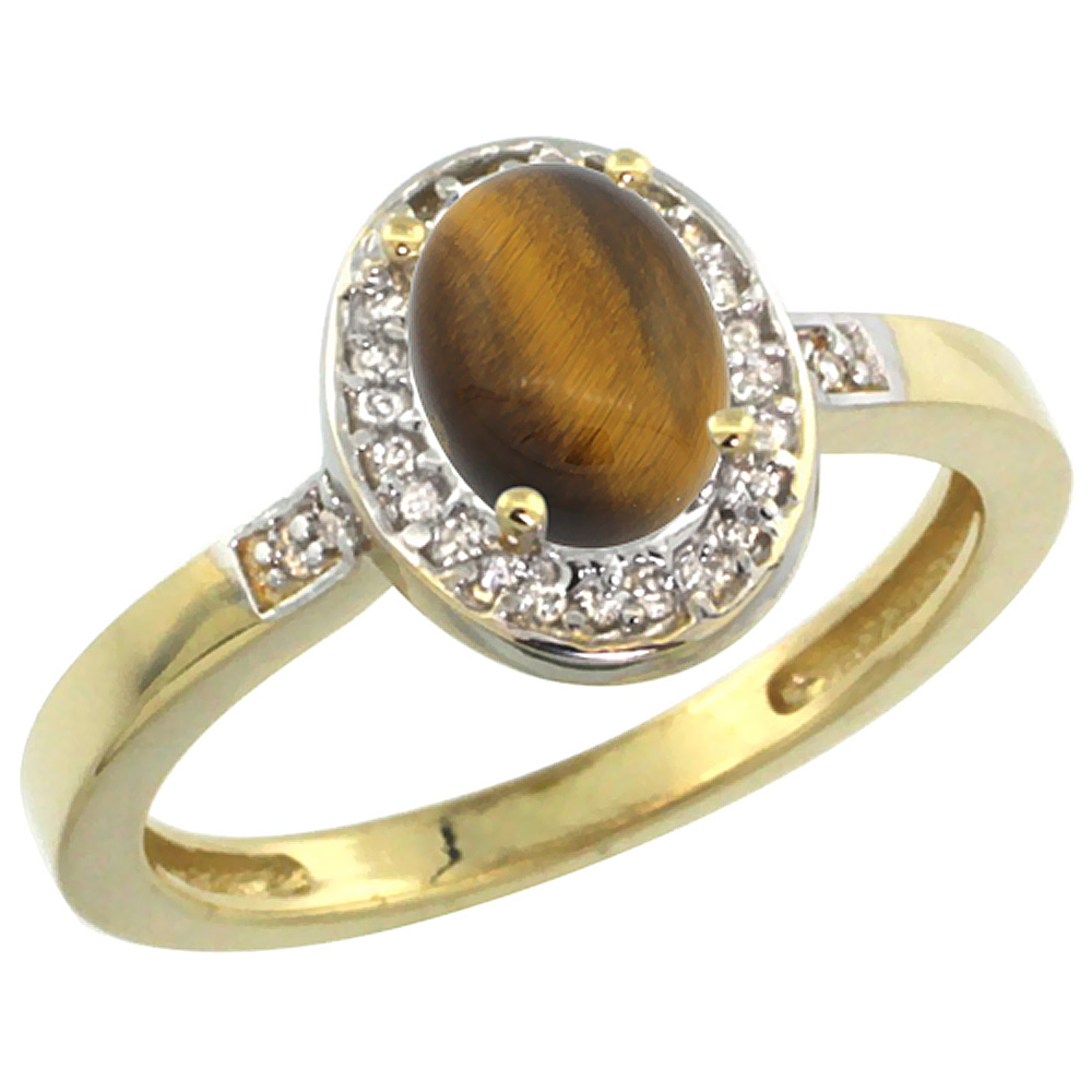 14K Yellow Gold Diamond Natural Tiger Eye Engagement Ring Oval 7x5mm, sizes 5-10