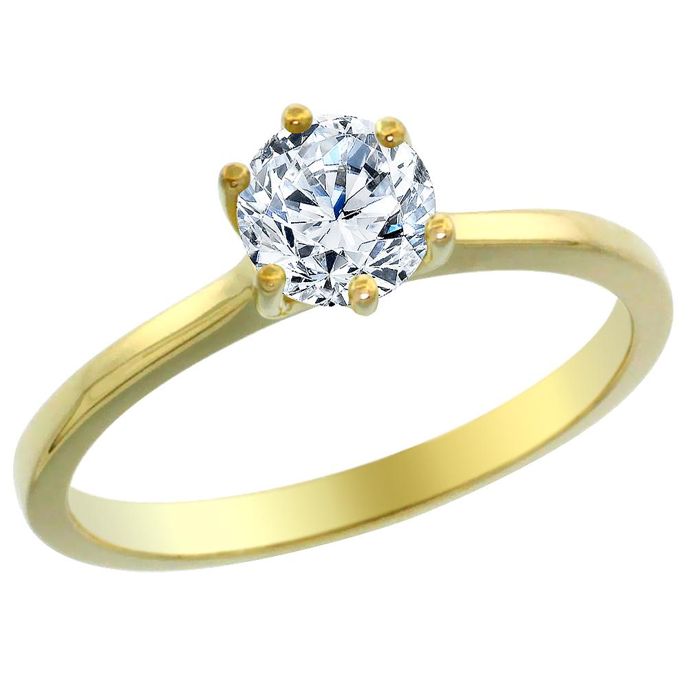 14K Yellow Gold 0.65 ct Diamond Solitaire Ring Round, sizes 5 - 10
