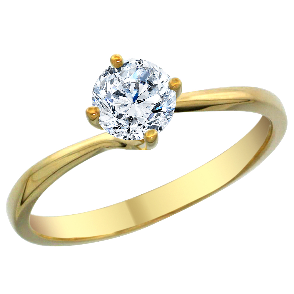 14K Yellow Gold Diamond Solitaire Ring Round 1.5cttw, sizes 5 - 10