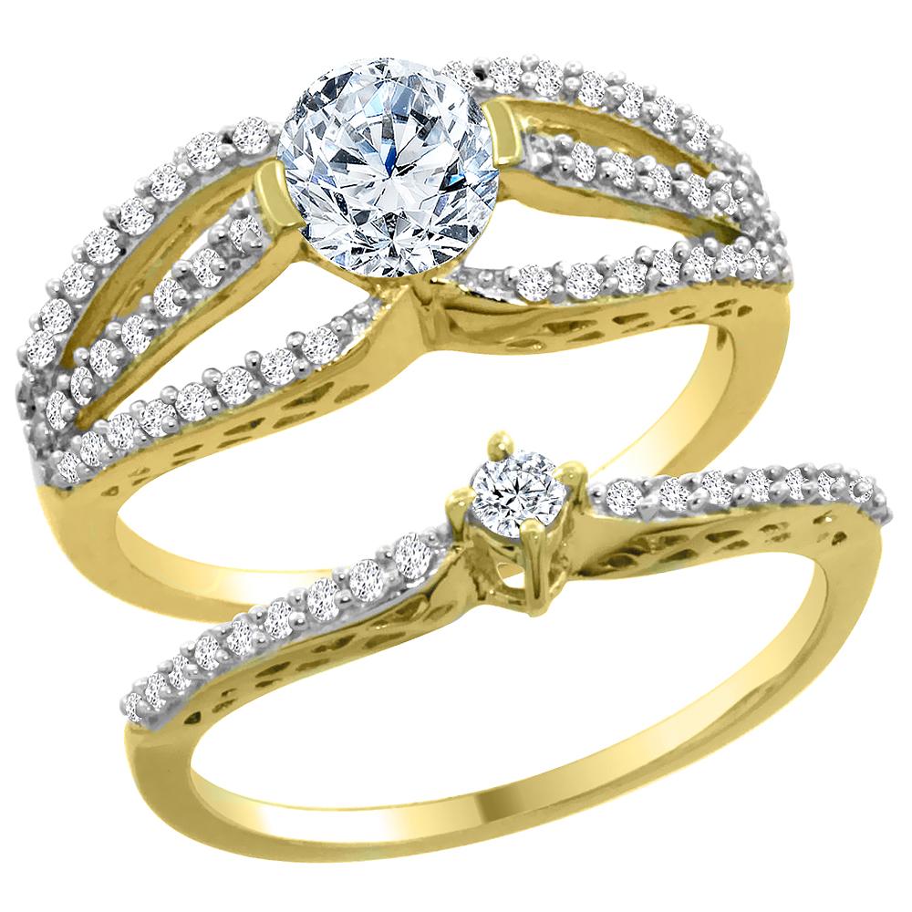 14K Yellow Gold Diamond 2-piece Engagement Ring Set 0.50ct, sizes 5 - 10