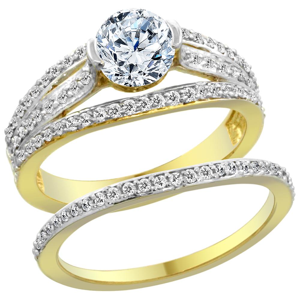 14K Yellow Gold Diamond 2-piece Engagement Ring Set 1.15ct, sizes 5 - 10