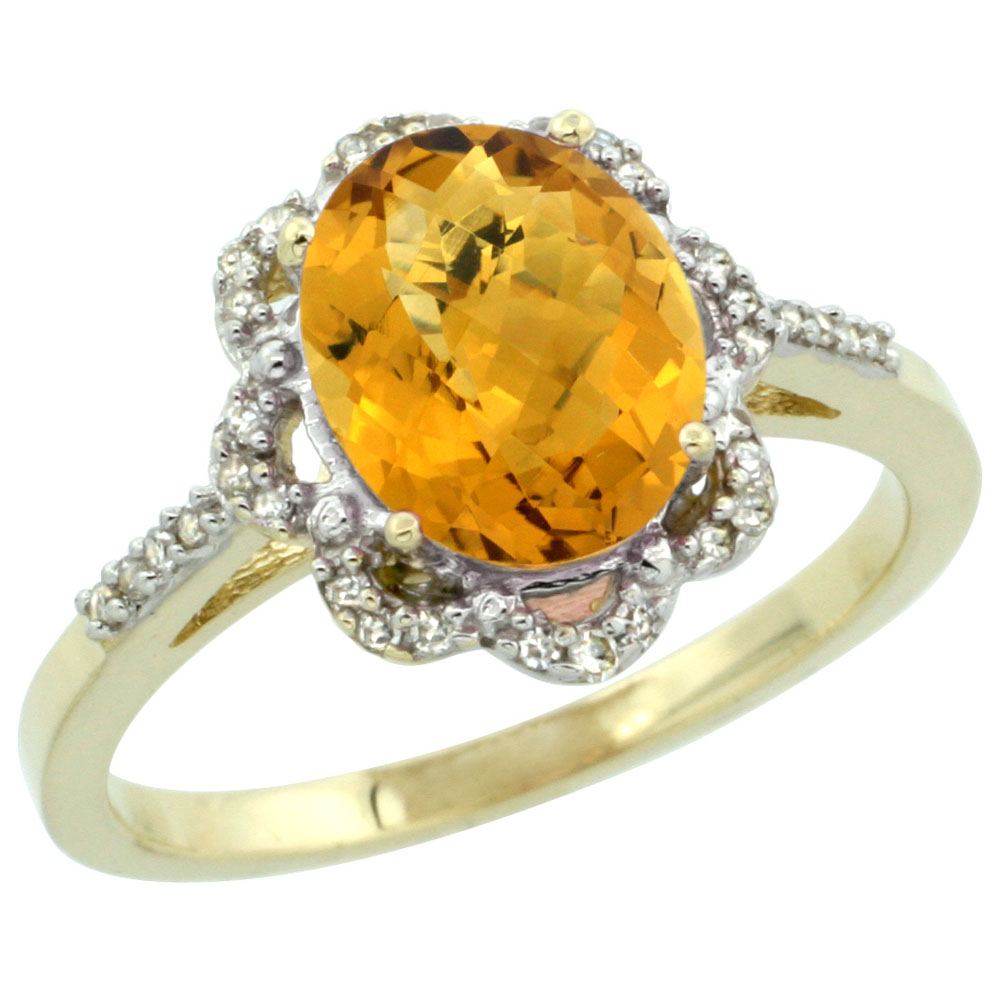 14K Yellow Gold Diamond Halo Natural Whisky Quartz Engagement Ring Oval 9x7mm, sizes 5-10