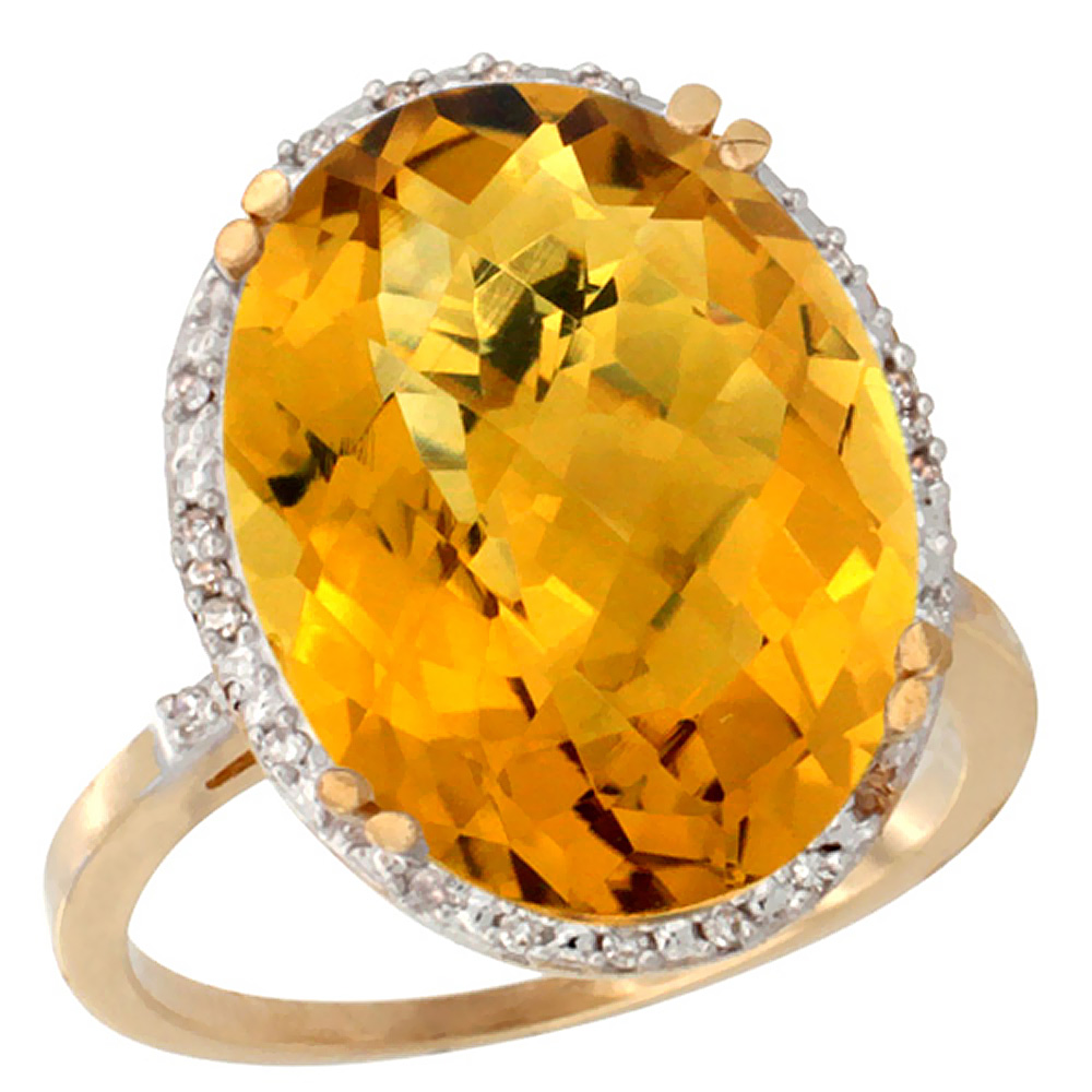 14K Yellow Gold Natural Whisky Quartz Ring Large Oval 18x13mm Diamond Halo, sizes 5-10