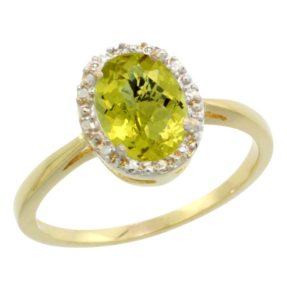 14K Yellow Gold Natural Lemon Quartz Diamond Halo Ring Oval 8X6mm, sizes 5 10