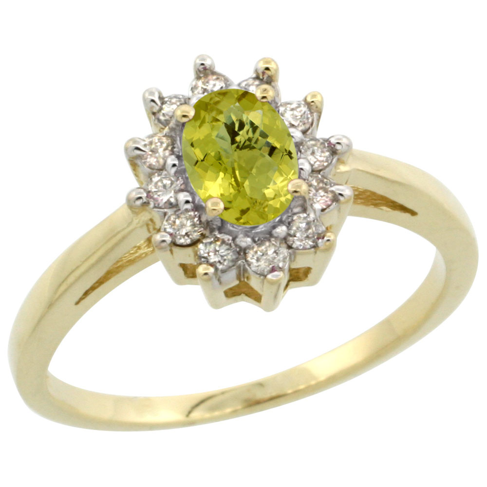 14K Yellow Gold Natural Lemon Quartz Flower Diamond Halo Ring Oval 6x4 mm, sizes 5 10