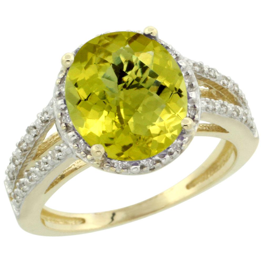 14K Yellow Gold Natural Lemon Quartz Diamond Halo Ring Oval 11x9mm, sizes 5-10