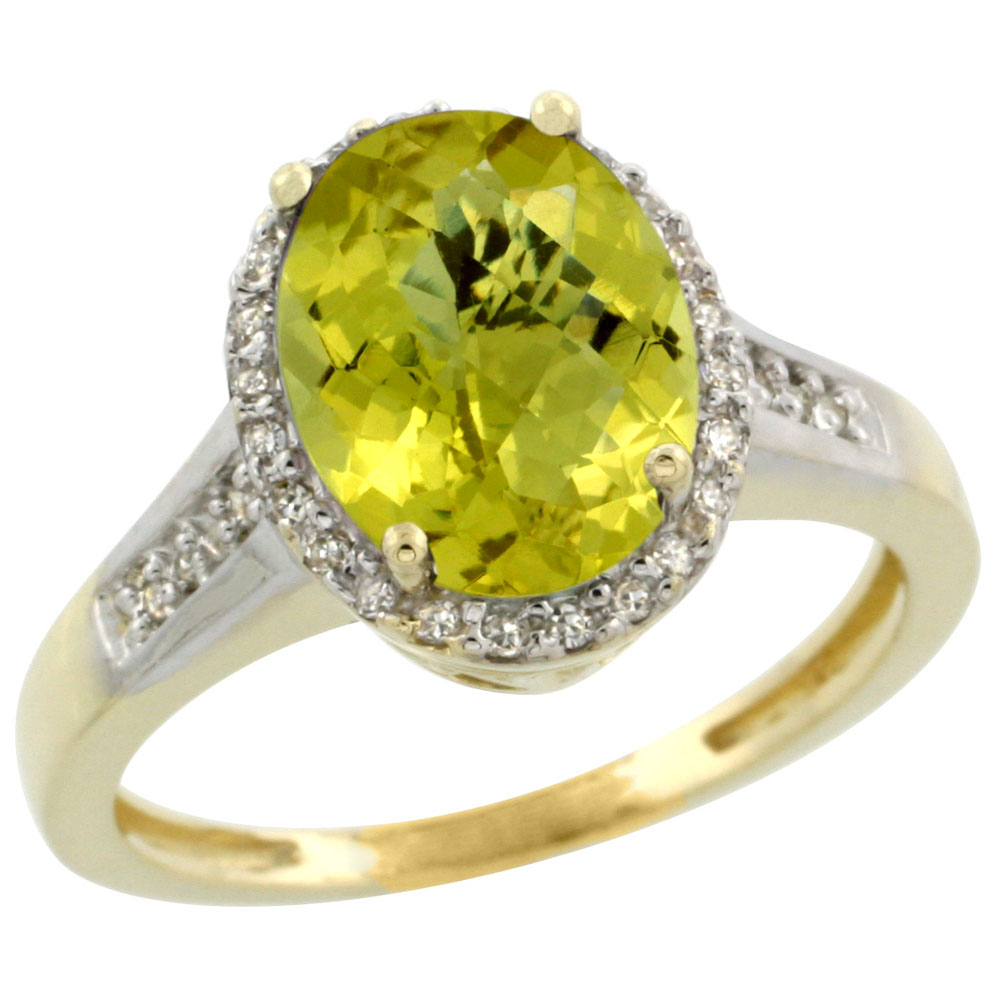 10K Yellow Gold Diamond Natural Lemon Quartz Engagement Ring Oval 10x8mm, sizes 5-10