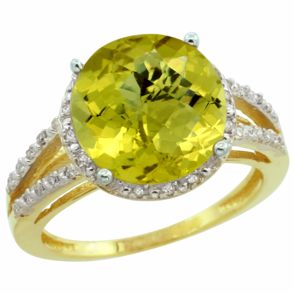 14K Yellow Gold Diamond Natural Lemon Quartz Ring Round 11mm, sizes 5-10