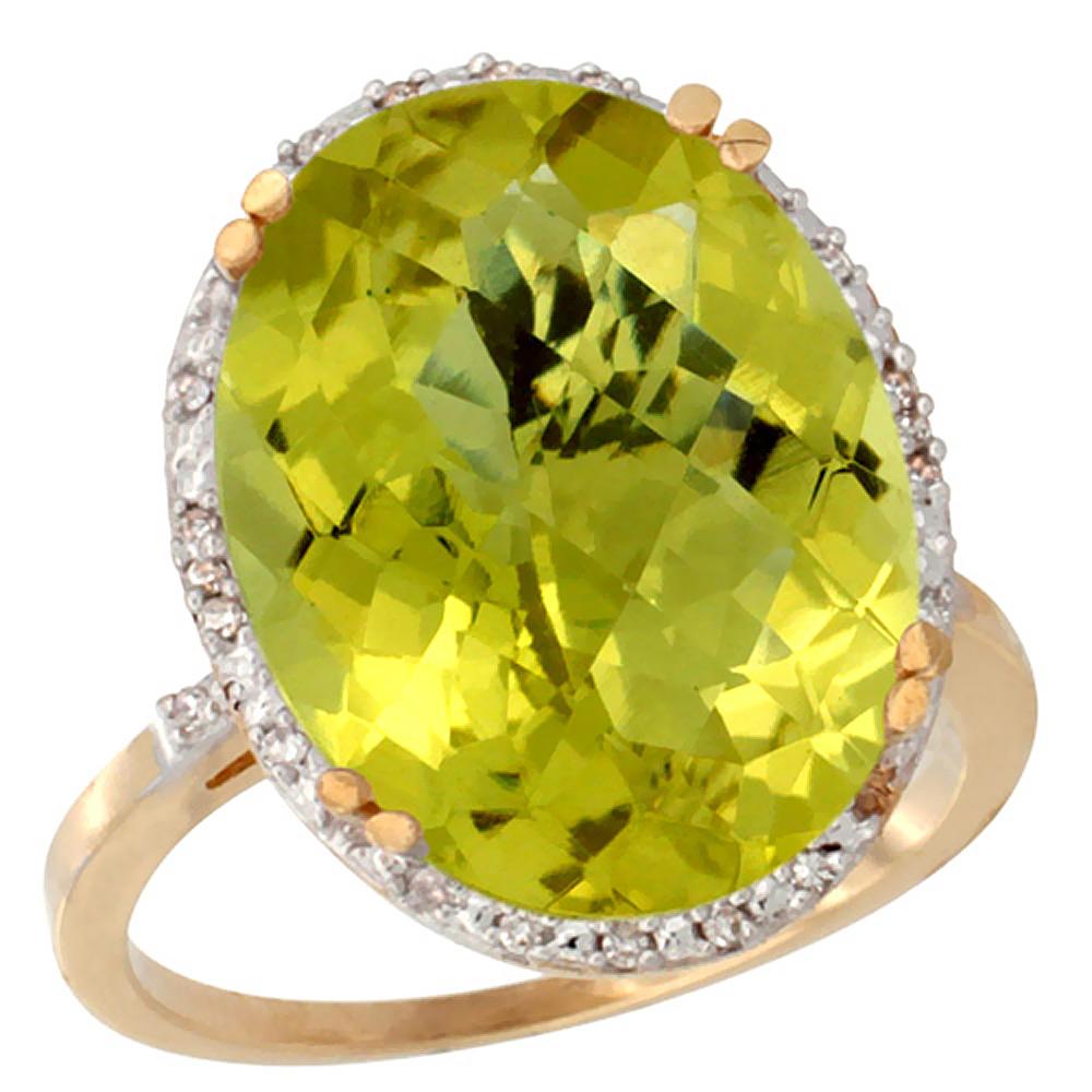 14K Yellow Gold Natural Lemon Quartz Ring Large Oval 18x13mm Diamond Halo, sizes 5-10