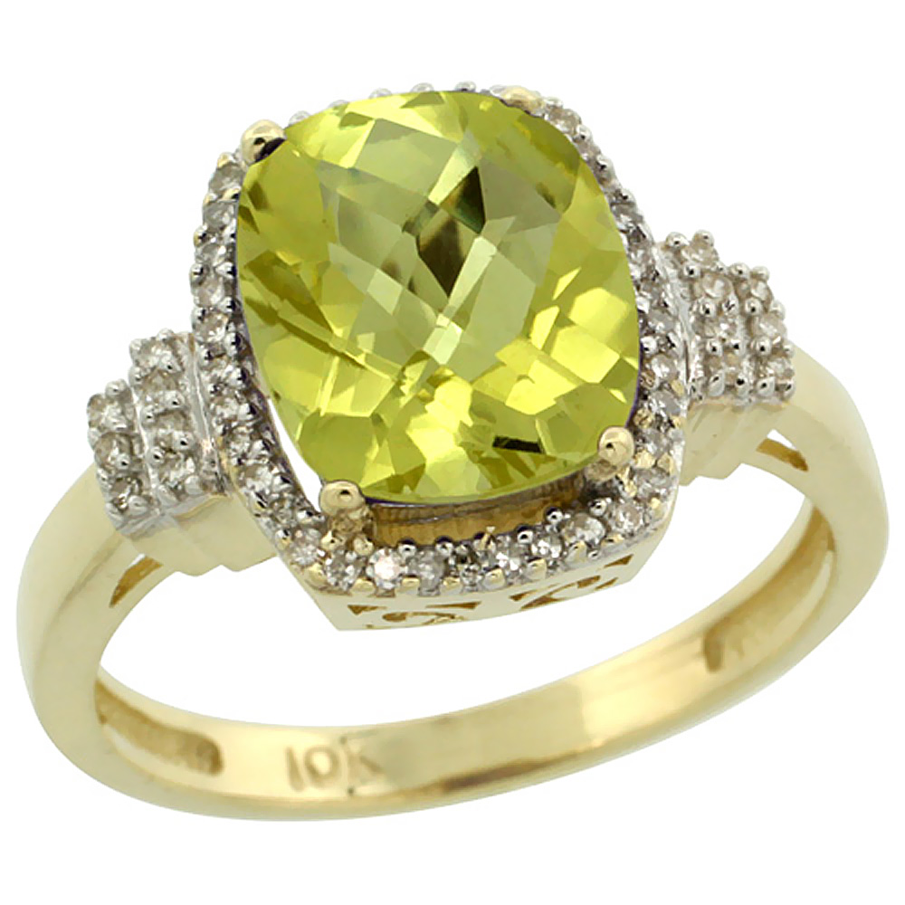 10k Yellow Gold Natural Lemon Quartz Ring Cushion-cut 9x7mm Diamond Halo, sizes 5-10