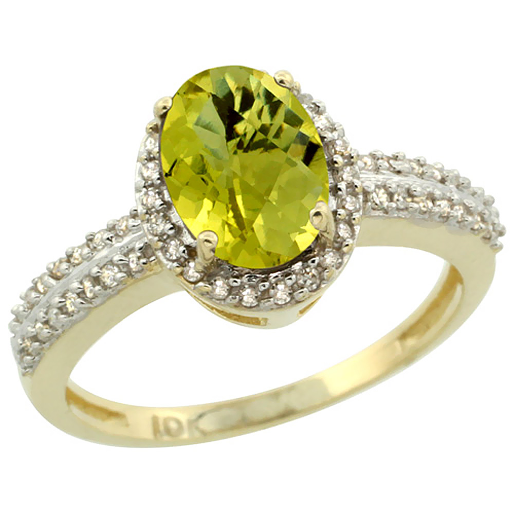 14K Yellow Gold Natural Lemon Quartz Ring Oval 8x6mm Diamond Halo, sizes 5-10