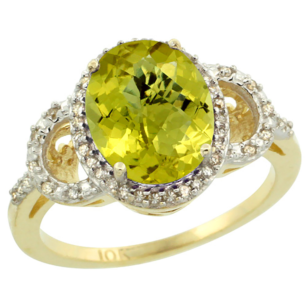 14K Yellow Gold Diamond Natural Lemon Quartz Engagement Ring Oval 10x8mm, sizes 5-10