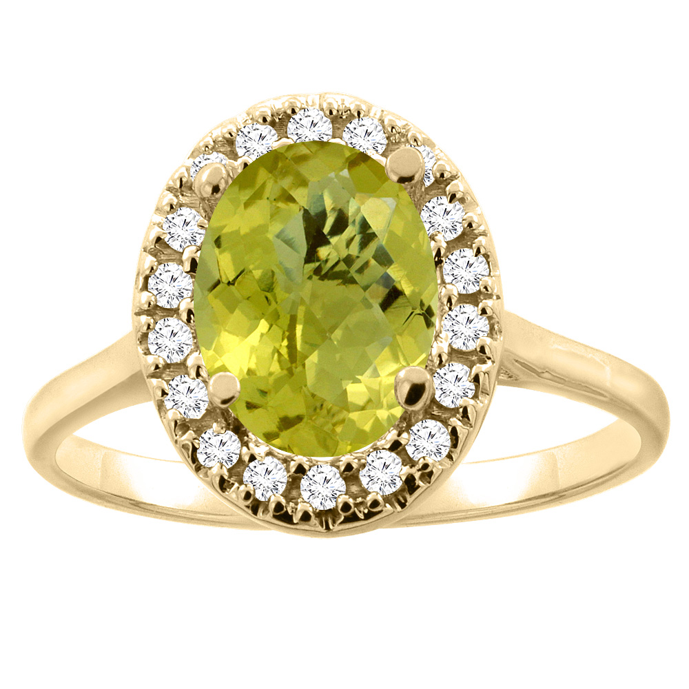 10K Gold Natural Lemon Quartz Halo Ring Oval 9x7mm Diamond Accent, sizes 5 - 10