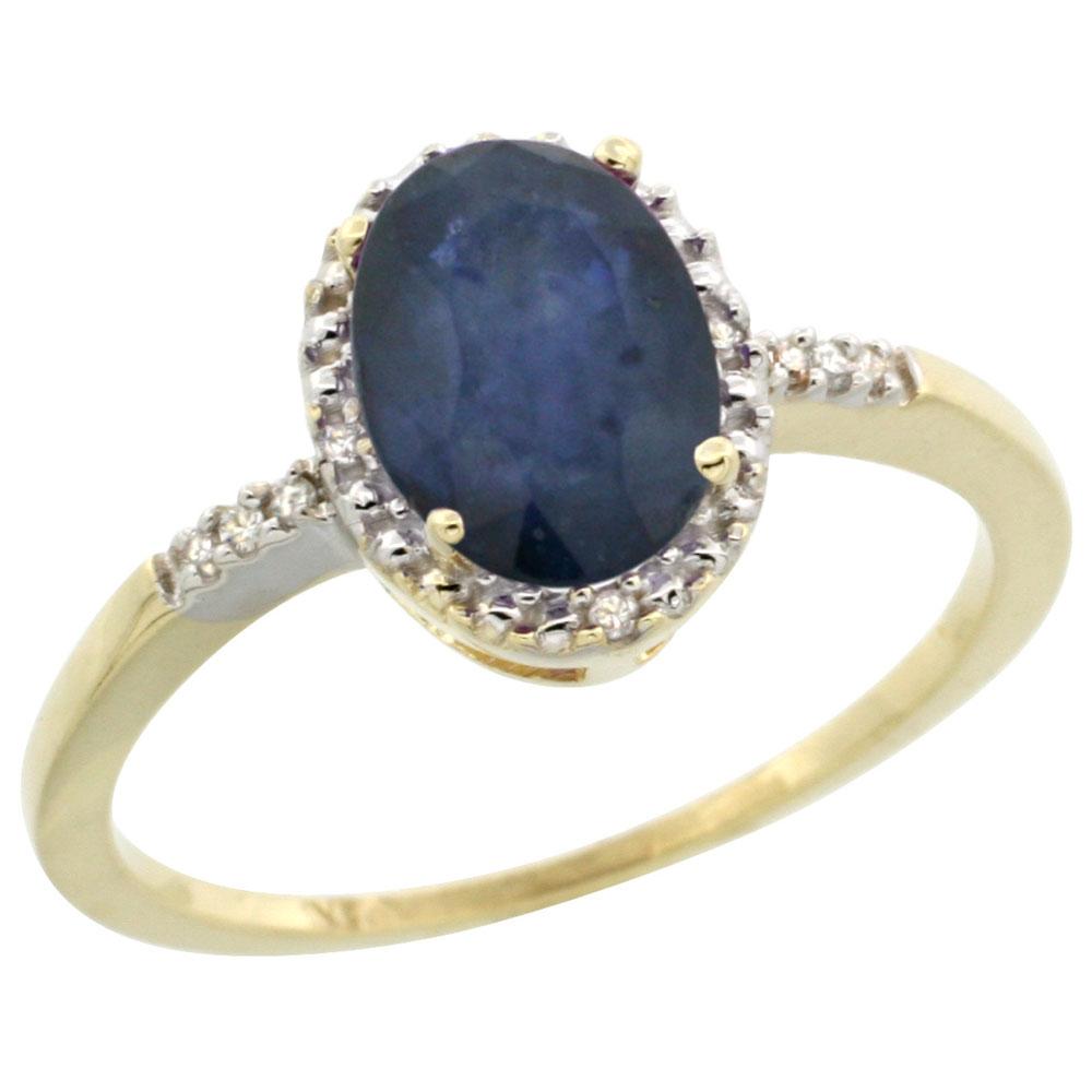 14K White Gold Diamond Natural Australian Sapphire Ring Oval 8x6mm, sizes 5-10