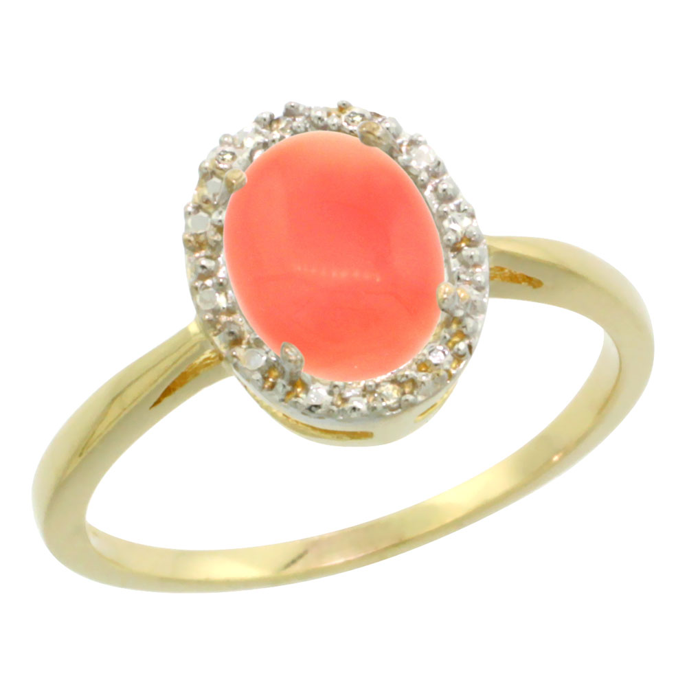 14K Yellow Gold Natural Coral Diamond Halo Ring Oval 8X6mm, sizes 5 10