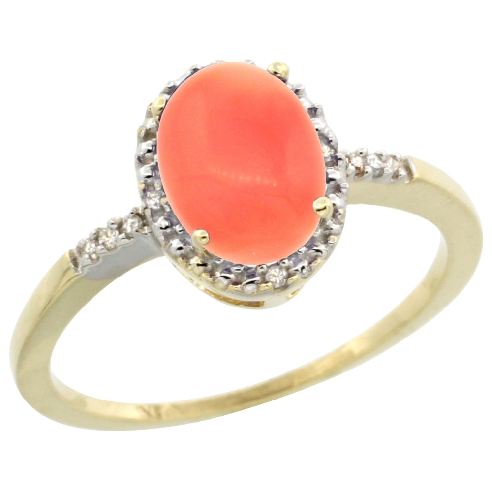 14K Yellow Gold Diamond Natural Coral Ring Oval 8x6mm, sizes 5-10