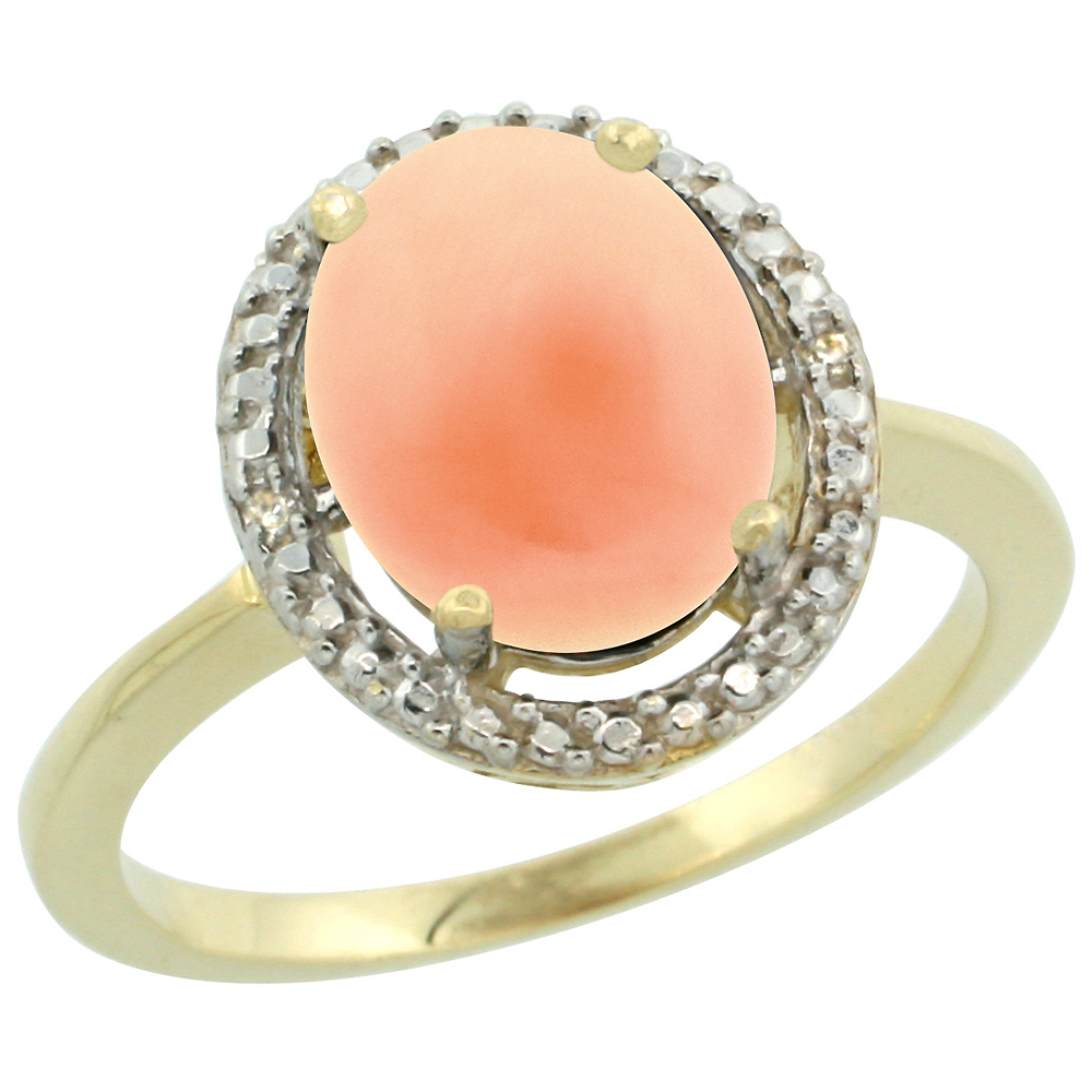 14K Yellow Gold Diamond Natural Coral Engagement Ring Oval 10x8mm, sizes 5-10