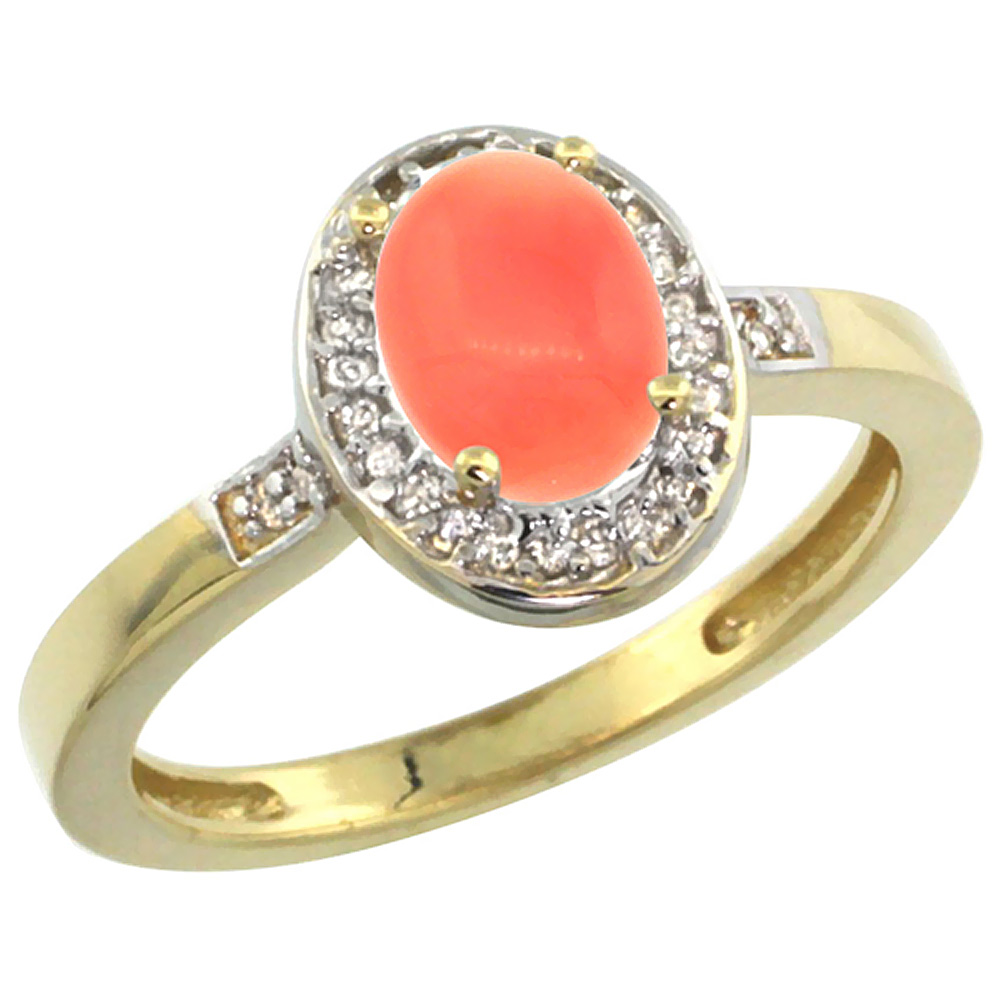 10K Yellow Gold Diamond Natural Coral Engagement Ring Oval 7x5mm, sizes 5-10