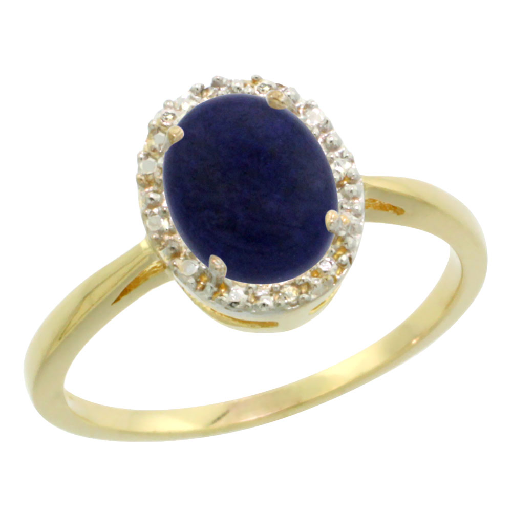 14K Yellow Gold Natural Lapis Diamond Halo Ring Oval 8X6mm, sizes 5 10