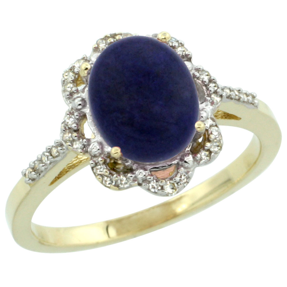 14K Yellow Gold Diamond Halo Natural Lapis Engagement Ring Oval 9x7mm, sizes 5-10