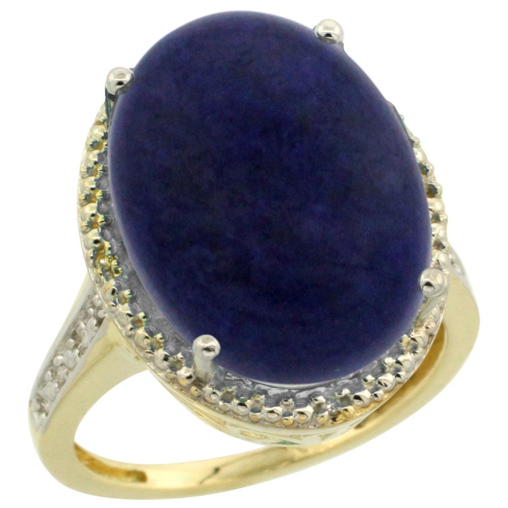 14K Yellow Gold Diamond Natural Lapis Ring Oval 18x13mm, sizes 5-10