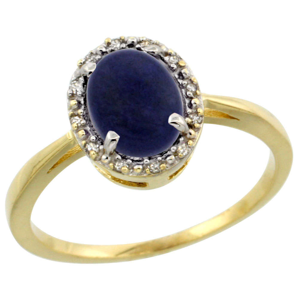 14K Yellow Gold Natural Lapis Ring Oval 8x6 mm Diamond Halo, sizes 5-10