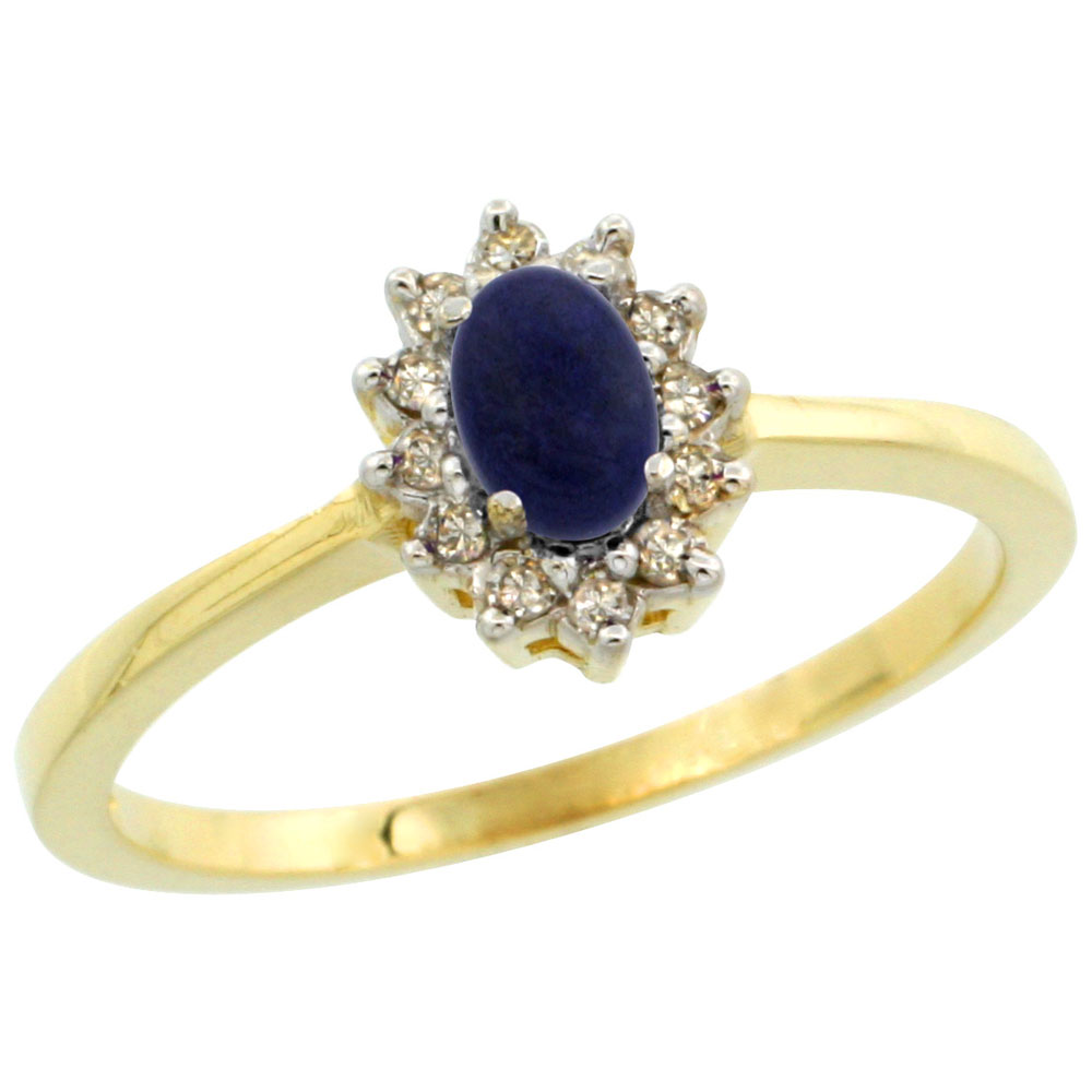 14K Yellow Gold Natural Lapis Ring Oval 5x3mm Diamond Halo, sizes 5-10