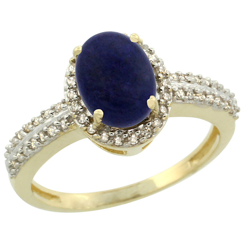 14K Yellow Gold Natural Lapis Ring Oval 8x6mm Diamond Halo, sizes 5-10
