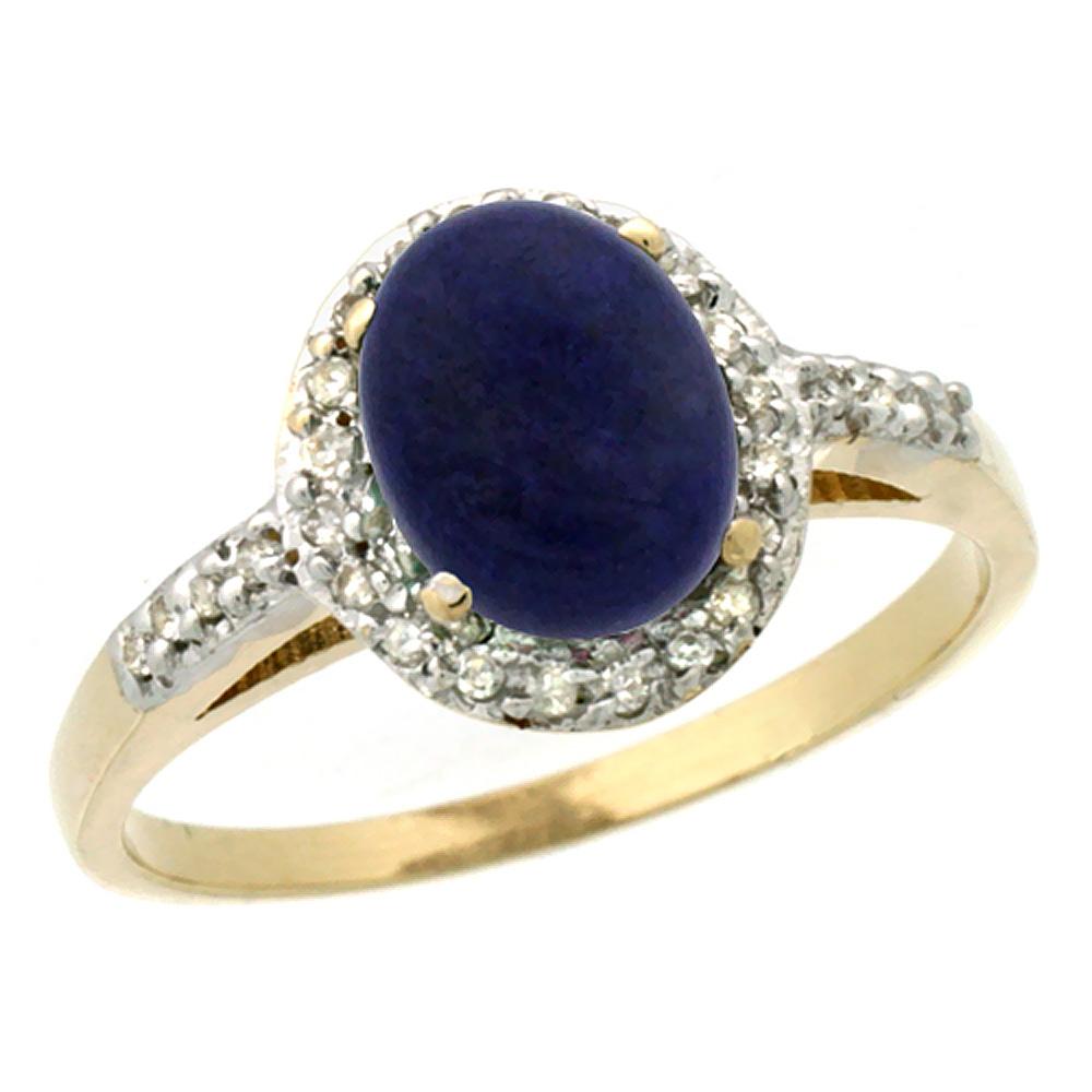 14K Yellow Gold Diamond Natural Lapis Ring Oval 8x6mm, sizes 5-10