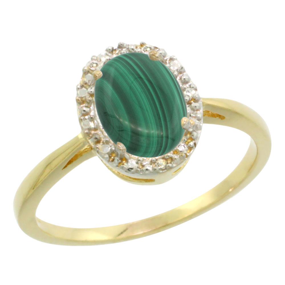 14K Yellow Gold Natural Malachite Diamond Halo Ring Oval 8X6mm, sizes 5 10